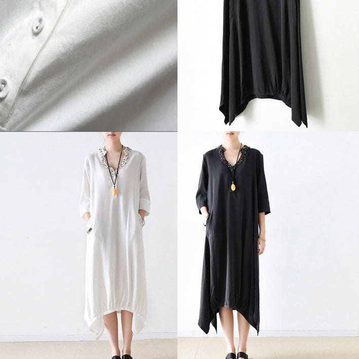 2021 fall cotton dresses V neck plus size white dresses beads details black cotton dresses
