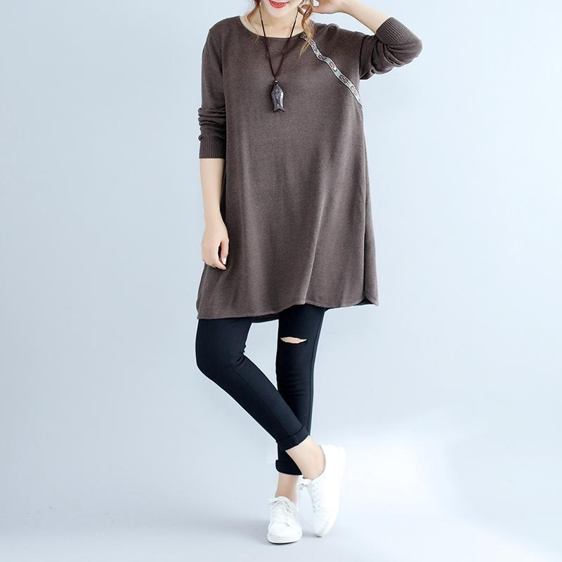 2021 fall fashion cotton women sweater dresses oversize chocolate cozy knit dress