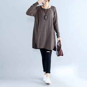 2017 fall fashion cotton women sweater dresses oversize chocolate cozy knit dress