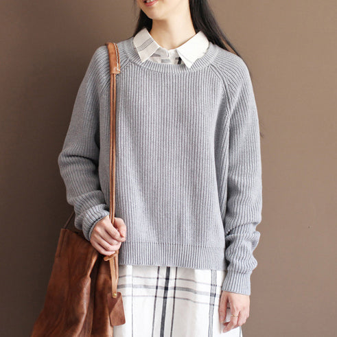 2021 fall gray cotton knit tops oversize casual batwing sleeve sweater pullover