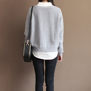 2017 fall gray cotton knit tops oversize casual batwing sleeve sweater pullover