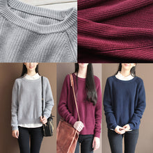 Load image into Gallery viewer, 2017 fall gray cotton knit tops oversize casual batwing sleeve sweater pullover