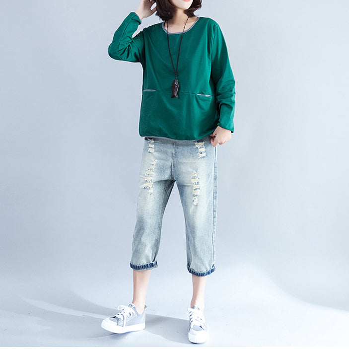 2017 fall green fashion cotton blouse loose slim fit t shirt