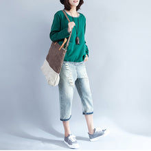 Load image into Gallery viewer, 2017 fall green fashion cotton blouse loose slim fit t shirt