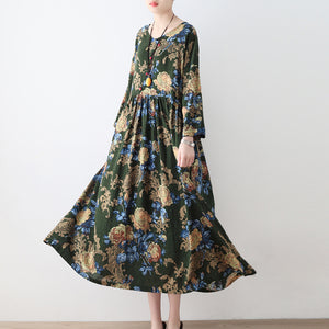 2017 fall green floral tunic linen dresses long cotton maxi dress gown