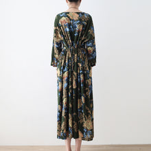 Load image into Gallery viewer, 2017 fall green floral tunic linen dresses long cotton maxi dress gown