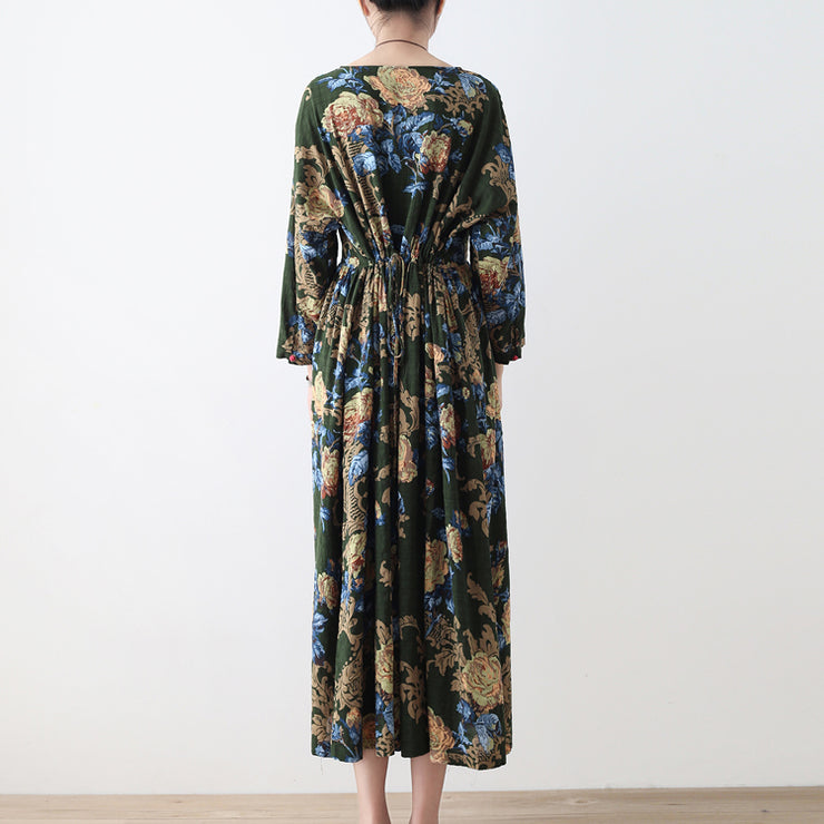 2021 fall green floral tunic linen dresses long cotton maxi dress gown
