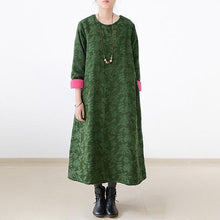 Load image into Gallery viewer, 2017 fall jade green embroidered cotton caftans plus size cotton dresses