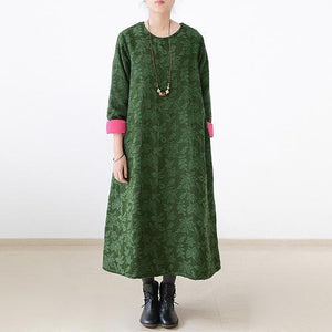 2017 fall jade green embroidered cotton caftans plus size cotton dresses