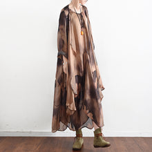 2017 fall khaki print silk dresses flowy baggy caftans two pieces