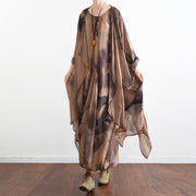 2021 fall khaki print silk dresses flowy baggy caftans two pieces