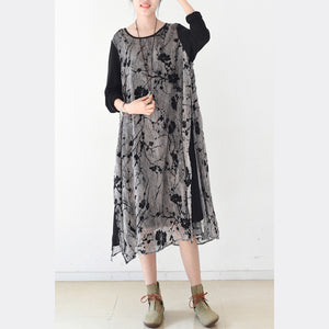 2017 fall layered black maxi dresses plus size plum flower print chiffon dress layered caftans