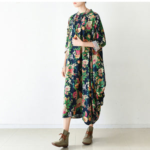 2017 fall navy baggy floral linen dresses oversized caftans long cotton dress