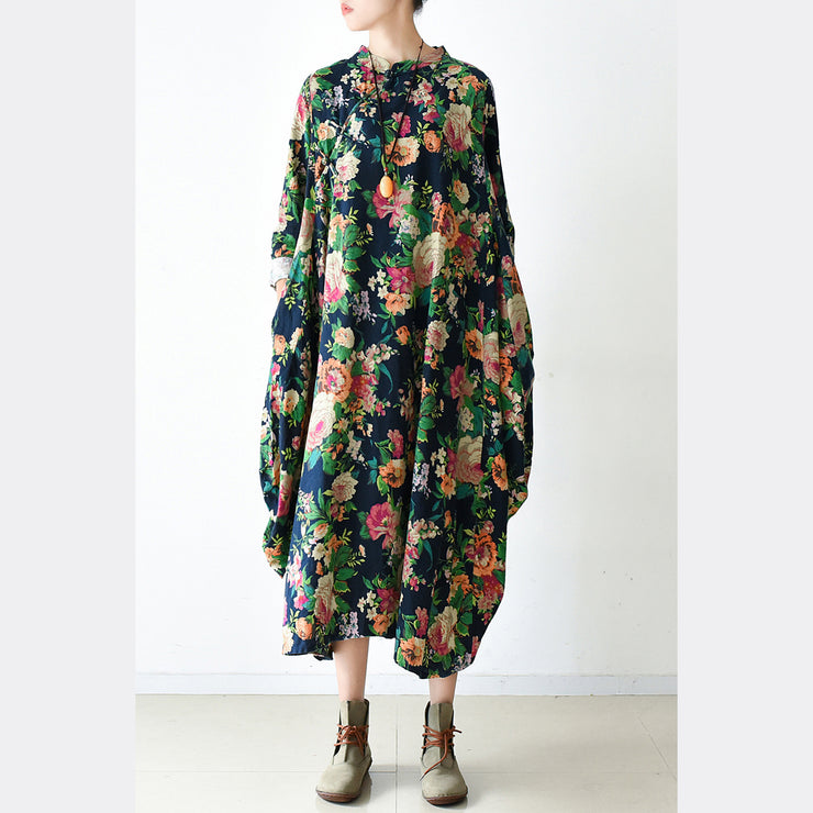 2021 fall navy baggy floral linen dresses oversized caftans long cotton dress