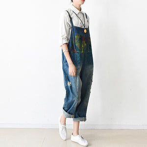 2017 fall oversized denim jumpsuits casual blue jeans denim outfits cute