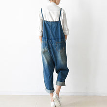 Load image into Gallery viewer, 2017 fall oversized denim jumpsuits casual blue jeans denim outfits cute