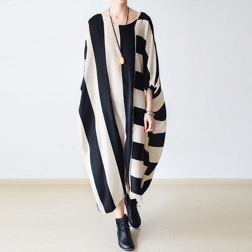 2021 fall oversized stripe dresses plus size dress baggy caftans no limit to weight
