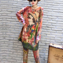 Load image into Gallery viewer, 2017 fall prints casual women knit blouse oversize fashion o neck mid long sweater