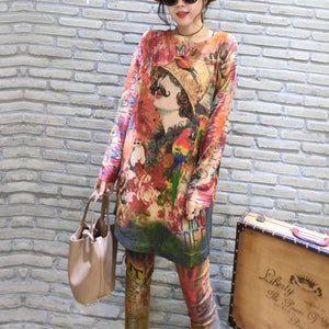 2017 fall prints casual women knit blouse oversize fashion o neck mid long sweater