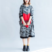 2021 fall prints ruffles black cotton shift dresses hooded oversize casual dress patchwork loving heart