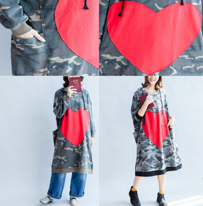 2017 fall prints ruffles black cotton shift dresses hooded oversize casual dress patchwork loving heart