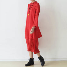 Load image into Gallery viewer, 2017 fall red cotton dresses layered long maxi dress vintage high neck design