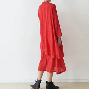 2017 fall red cotton dresses layered long maxi dress vintage high neck design