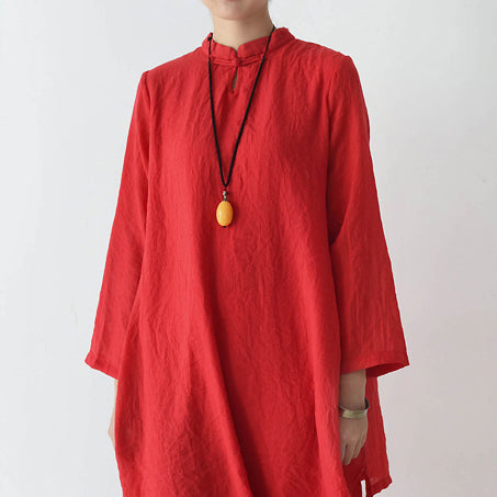 2021 fall red cotton dresses layered long maxi dress vintage high neck design