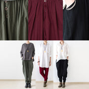 2021 fall red linen carrot pants oversized cotton carrot pants plus size outfits