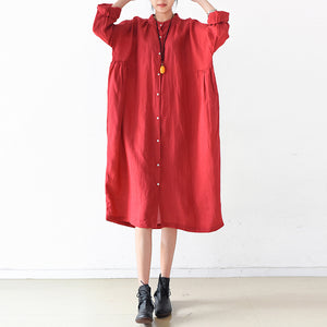 2017 fall red linen dresses plus size casual shirt dress oversize linen clothing