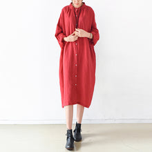 Load image into Gallery viewer, 2017 fall red linen dresses plus size casual shirt dress oversize linen clothing