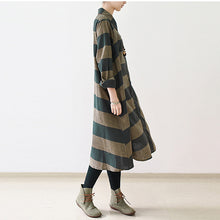 Load image into Gallery viewer, 2017 fall strip linen maxi dresses plus size casual cotton caftans gown