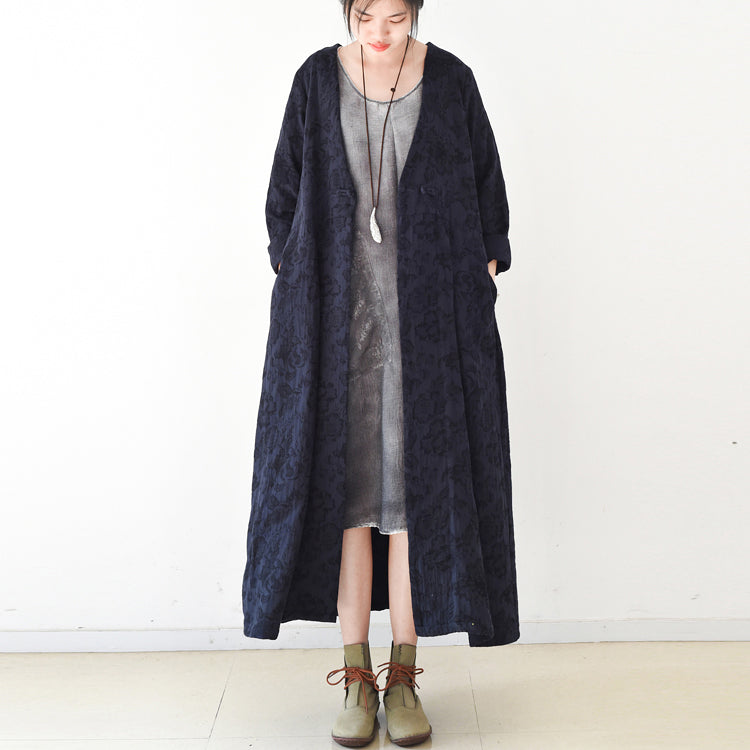 2017 fall trend Navy jacquard linen coats long maxi coat V neck casual cardigan