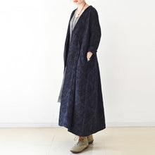 Load image into Gallery viewer, 2017 fall trend Navy jacquard linen coats long maxi coat V neck casual cardigan
