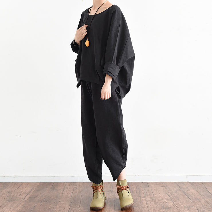 2021 fall trend outfits plus size black linen suits cute linen tops with pants