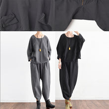 Afbeelding in Gallery-weergave laden, 2017 fall trend outfits plus size black linen suits cute linen tops with pants