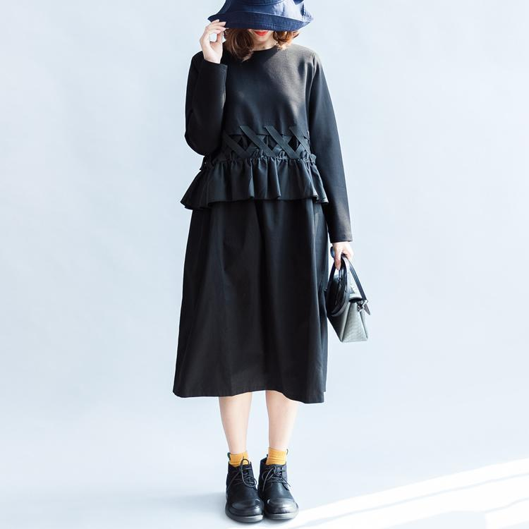2017 fall vintage black cotton dresses baggy loose ruffles long sleeve casual dress