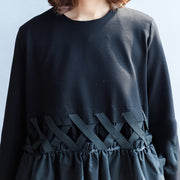 2021 fall vintage black cotton dresses baggy loose ruffles long sleeve casual dress
