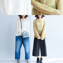 Load image into Gallery viewer, 2017 fall white hollow out cotton knit tops plus size casual long sleeve sweaters side open