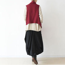 2017 fall winter fake scarf vest red linen tops original design linen outfits