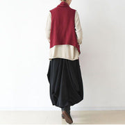 2021 fall winter fake scarf vest red linen tops original design linen outfits