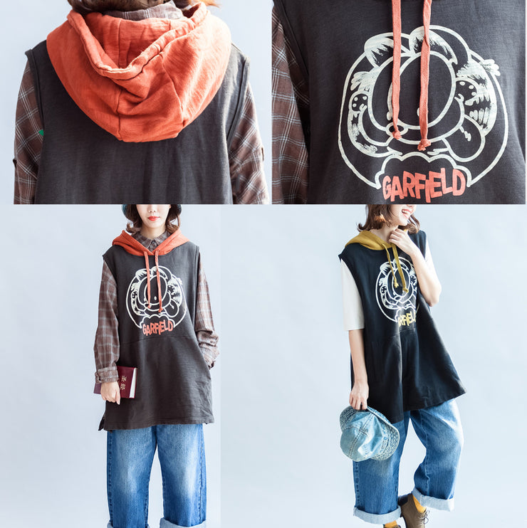 2021 fashion black cartoon print cotton sleeveless pullover oversize hooded thick waistcoats