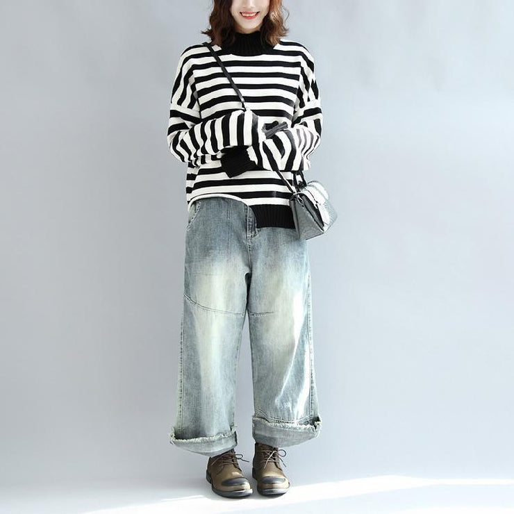 2021 fashion black white striped cotton knit tops plus size asymmetric design sweater