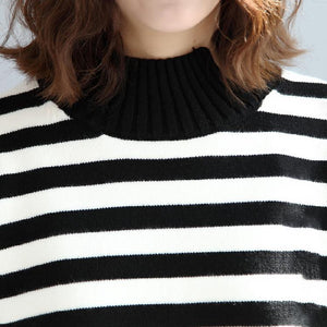 2017 fashion black white striped cotton knit tops plus size asymmetric design sweater