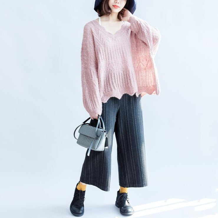 2021 fashion cotton knit tops ruffles oversize v neck sweaters