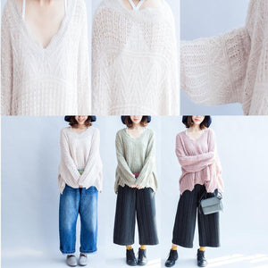 2017 fashion cotton knit tops ruffles oversize v neck sweaters