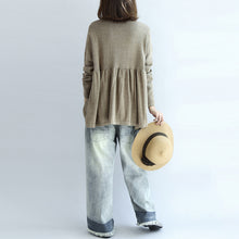 Load image into Gallery viewer, 2017 fashion khaki floral knit pullover loose casual o neck sweater