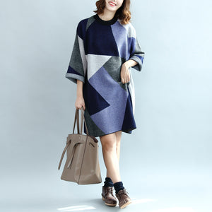 2017 geometric patchwork cotton knit dresses plus size casual bracelet sleeved sweater dress