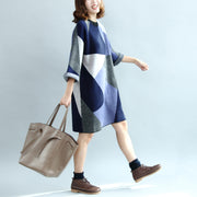 2021 geometric patchwork cotton knit dresses plus size casual bracelet sleeved sweater dress