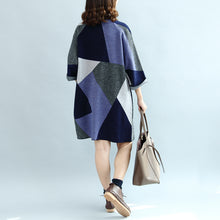 Afbeelding in Gallery-weergave laden, 2017 geometric patchwork cotton knit dresses plus size casual bracelet sleeved sweater dress